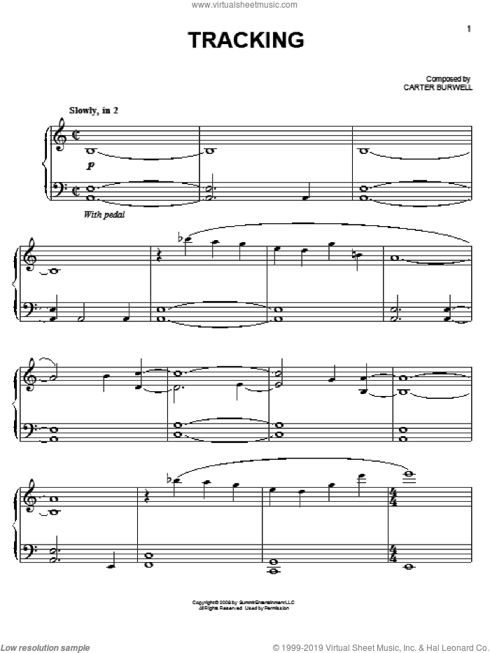 Tracking sheet music for piano solo by Carter Burwell and Twilight (Movie), easy skill level