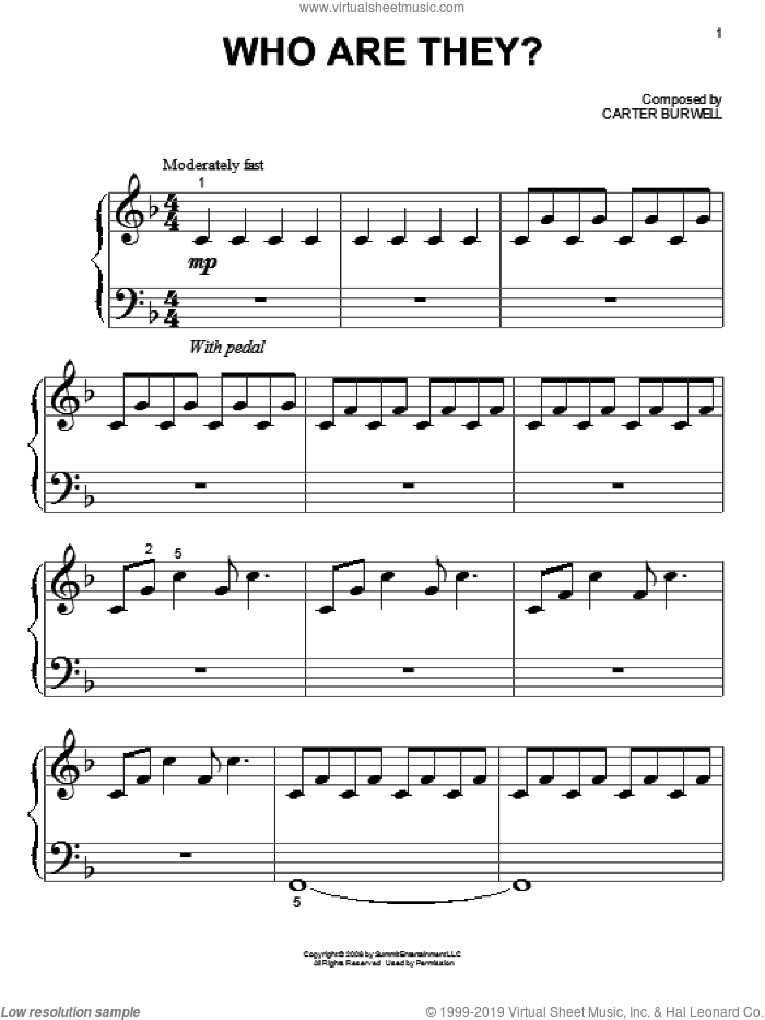 Who Are They? sheet music for piano solo (big note book) by Carter Burwell, easy piano (big note book). Score Image Preview.