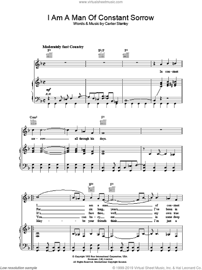 I Am A Man Of Constant Sorrow sheet music for voice, piano or guitar by Carter Stanley and The Soggy Bottom Boys. Score Image Preview.