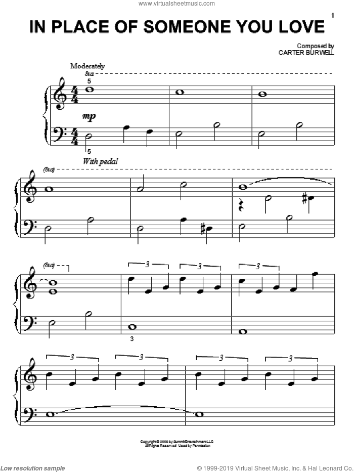 In Place Of Someone You Love sheet music for piano solo (big note book) by Carter Burwell, easy piano (big note book). Score Image Preview.
