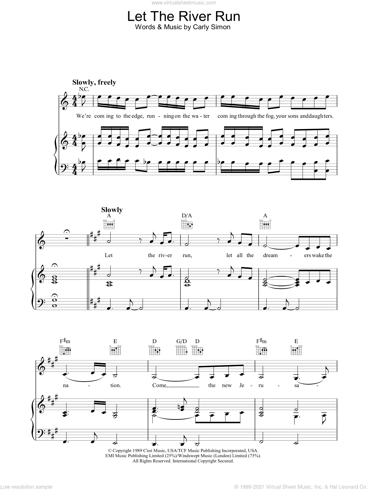 Let The River Run sheet music for voice, piano or guitar by Carly Simon. Score Image Preview.