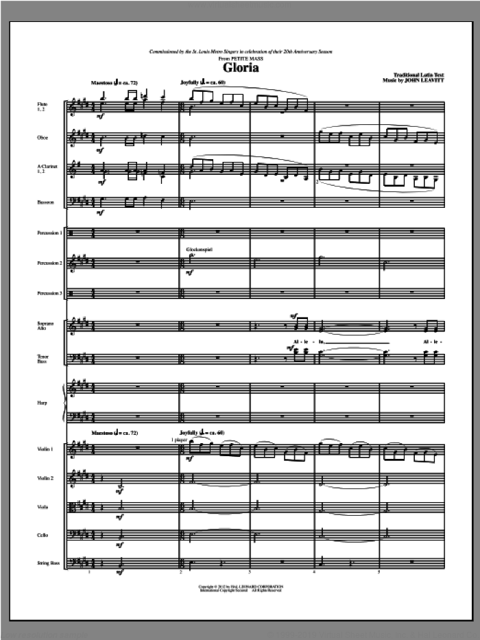 Gloria (from Petite Mass) sheet music for orchestra/band (full score) by John Leavitt