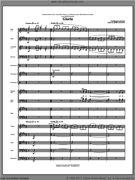 Gloria (from Petite Mass) (COMPLETE) sheet music for orchestra by John Leavitt
