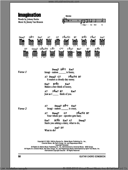 Imagination sheet music for guitar (chords) by Jimmy Van Heusen and John Burke, intermediate. Score Image Preview.