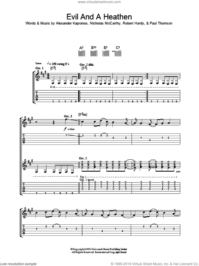 Evil And A Heathen sheet music for guitar (tablature) by Franz Ferdinand, Alexander Kapranos, Nicholas McCarthy, Paul Thomson and Robert Hardy, intermediate