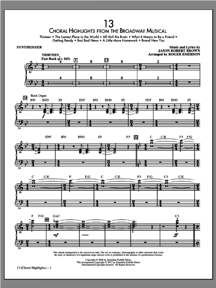 13 (Choral Highlights) sheet music for orchestra/band (synthesizer) by Jason Robert Brown