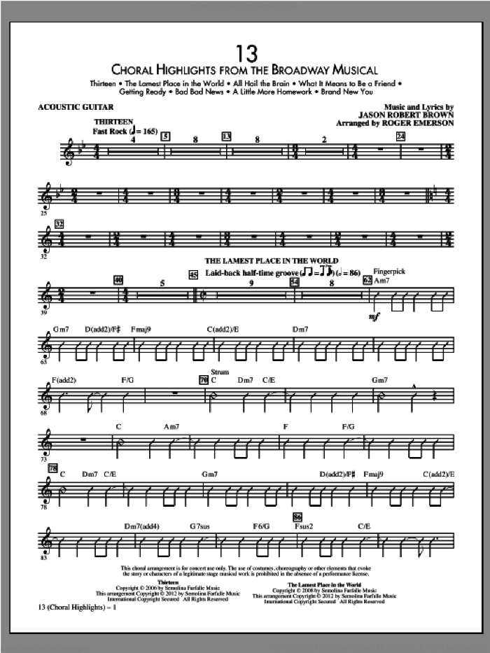 13 (Choral Highlights) sheet music for orchestra/band (acoustic guitar) by Jason Robert Brown and Roger Emerson, intermediate skill level