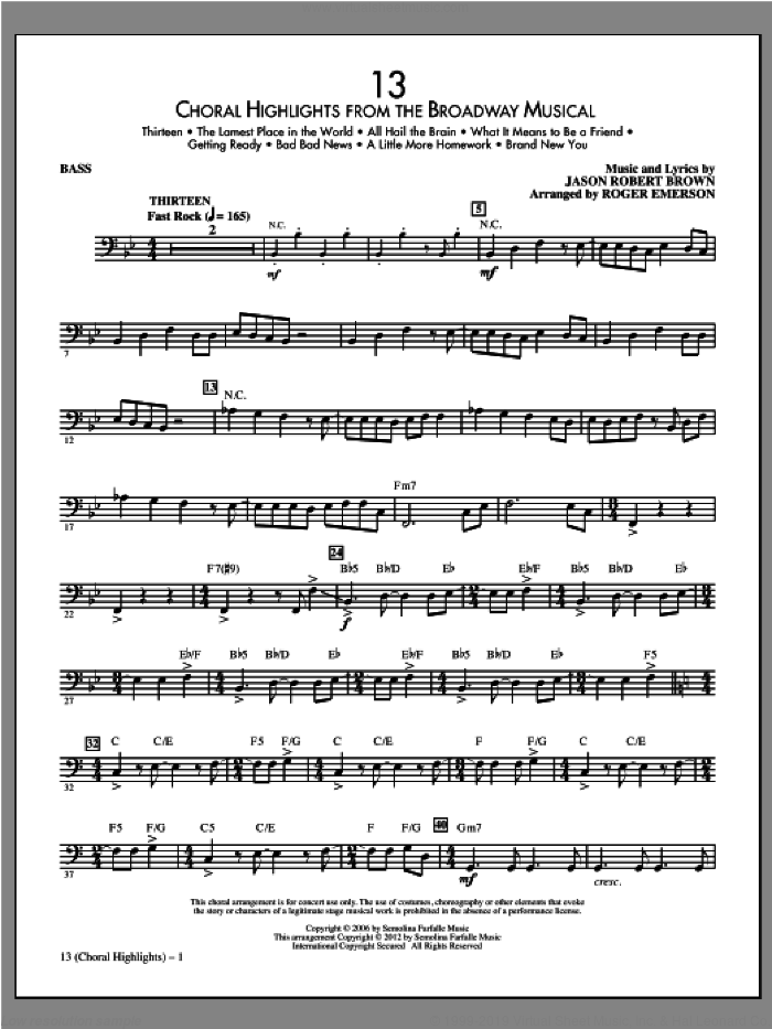 13 (Choral Highlights) sheet music for orchestra/band (bass) by Jason Robert Brown and Roger Emerson. Score Image Preview.