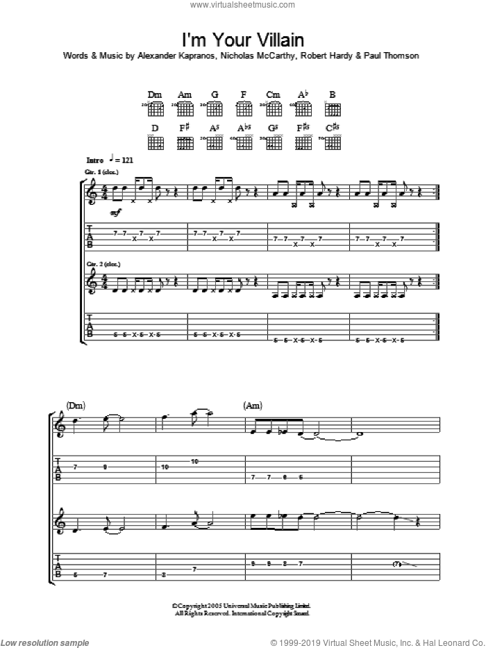I'm Your Villain sheet music for guitar (tablature) by Franz Ferdinand, Alexander Kapranos, Nicholas McCarthy, Paul Thomson and Robert Hardy, intermediate