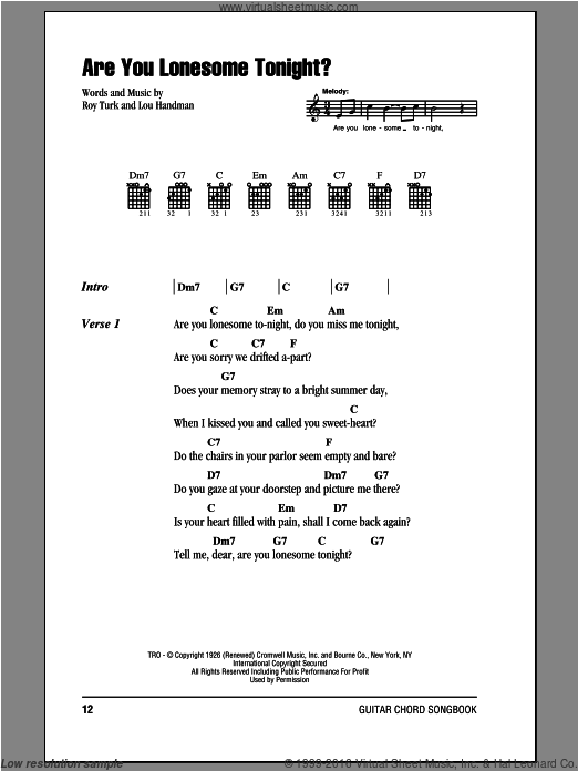 Are You Lonesome Tonight? sheet music for guitar (chords) by Roy Turk