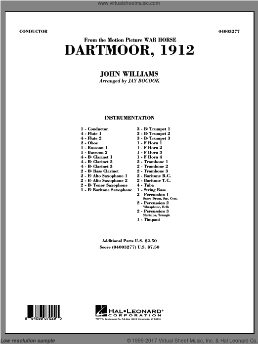 Dartmoor, 1912 (from War Horse) (COMPLETE) sheet music for concert band by John Williams