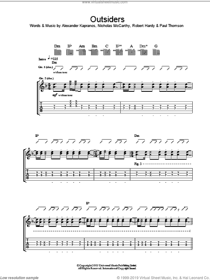 Outsiders sheet music for guitar (tablature) by Robert Hardy, Franz Ferdinand, Alexander Kapranos and Nicholas McCarthy. Score Image Preview.