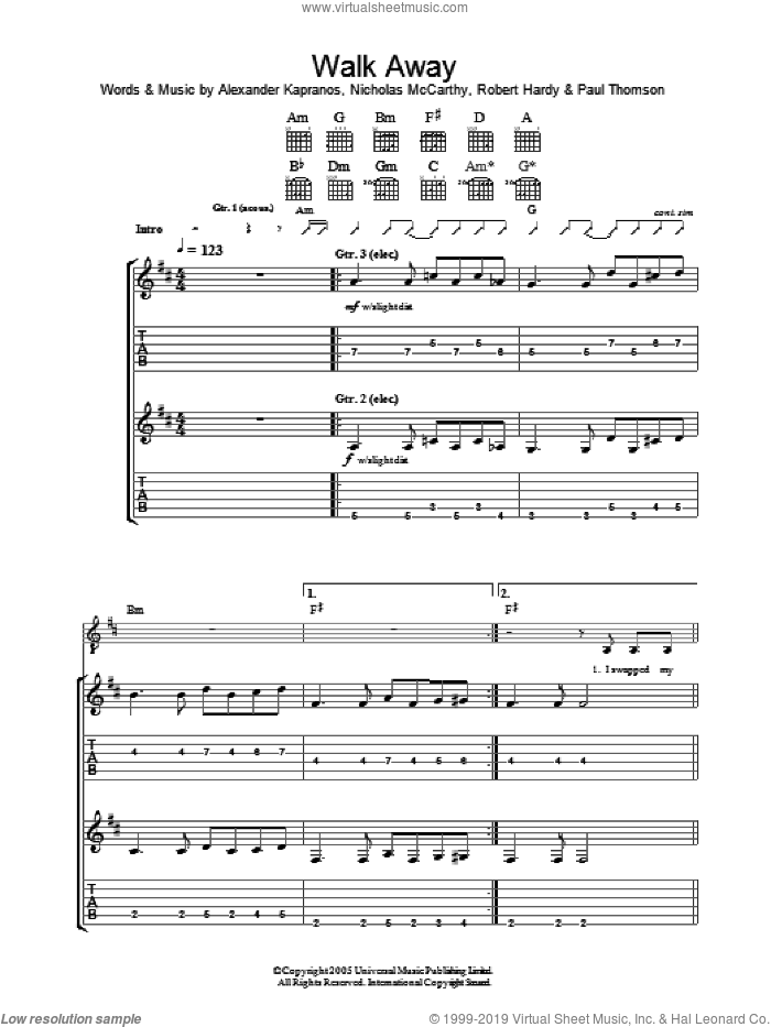 Walk Away sheet music for guitar (tablature) by Robert Hardy, Franz Ferdinand, Alexander Kapranos and Nicholas McCarthy. Score Image Preview.