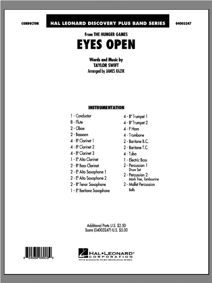 Eyes Open (from The Hunger Games) sheet music for concert band (full score) by Taylor Swift and James Kazik, intermediate