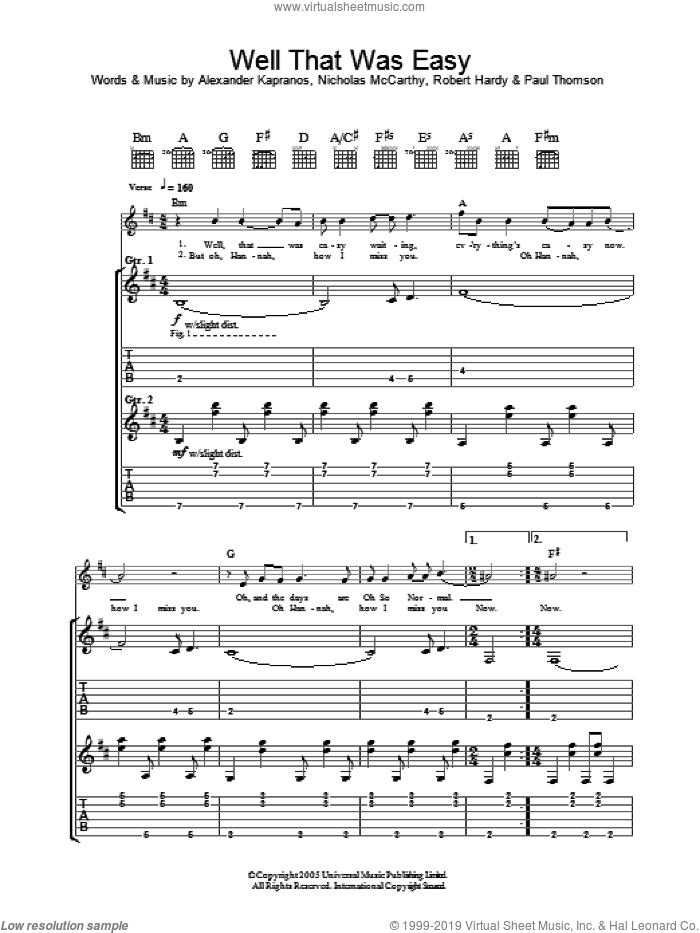 Well That Was Easy sheet music for guitar (tablature) by Franz Ferdinand, intermediate guitar (tablature). Score Image Preview.