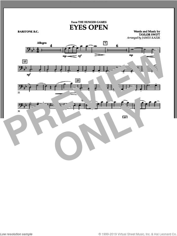 Eyes Open (from The Hunger Games) sheet music for concert band (baritone b.c.) by James Kazik