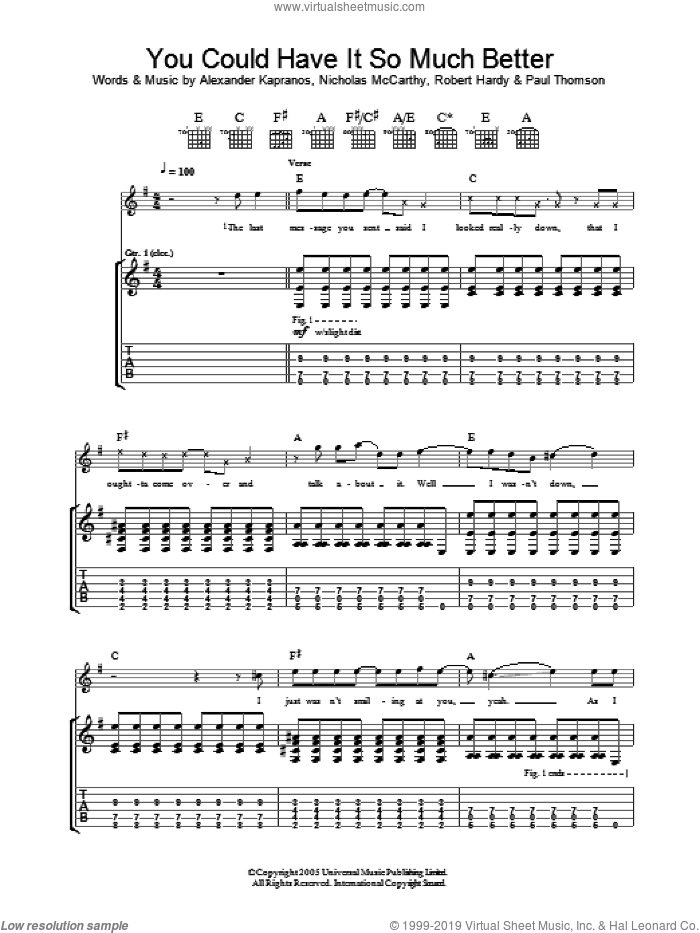 You Could Have It So Much Better sheet music for guitar (tablature) by Robert Hardy, Franz Ferdinand, Alexander Kapranos and Nicholas McCarthy. Score Image Preview.