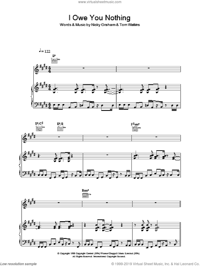 I Owe You Nothing sheet music for voice, piano or guitar by Bros. Score Image Preview.