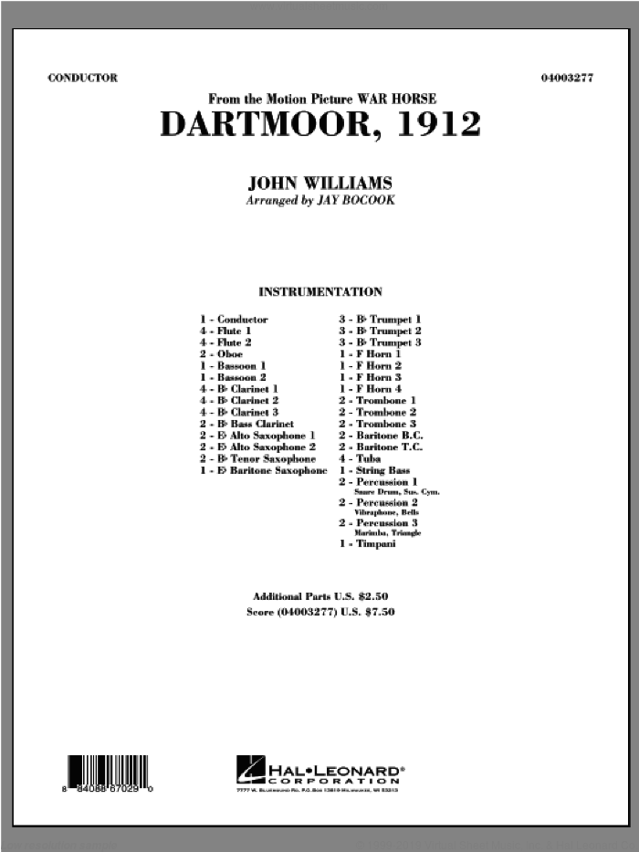 Dartmoor, 1912 (from War Horse) (COMPLETE) sheet music for concert band by John Williams and Jay Bocook, intermediate concert band. Score Image Preview.