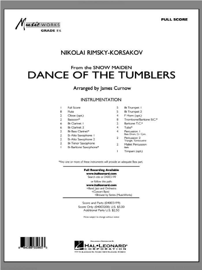 Dance Of The Tumblers (from The Snow Maiden) (COMPLETE) sheet music for concert band by Nikolai Rimsky-Korsakov and James Curnow, classical score, intermediate concert band. Score Image Preview.