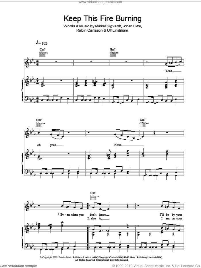 Keep This Fire Burning sheet music for voice, piano or guitar by Beverley Knight, intermediate. Score Image Preview.