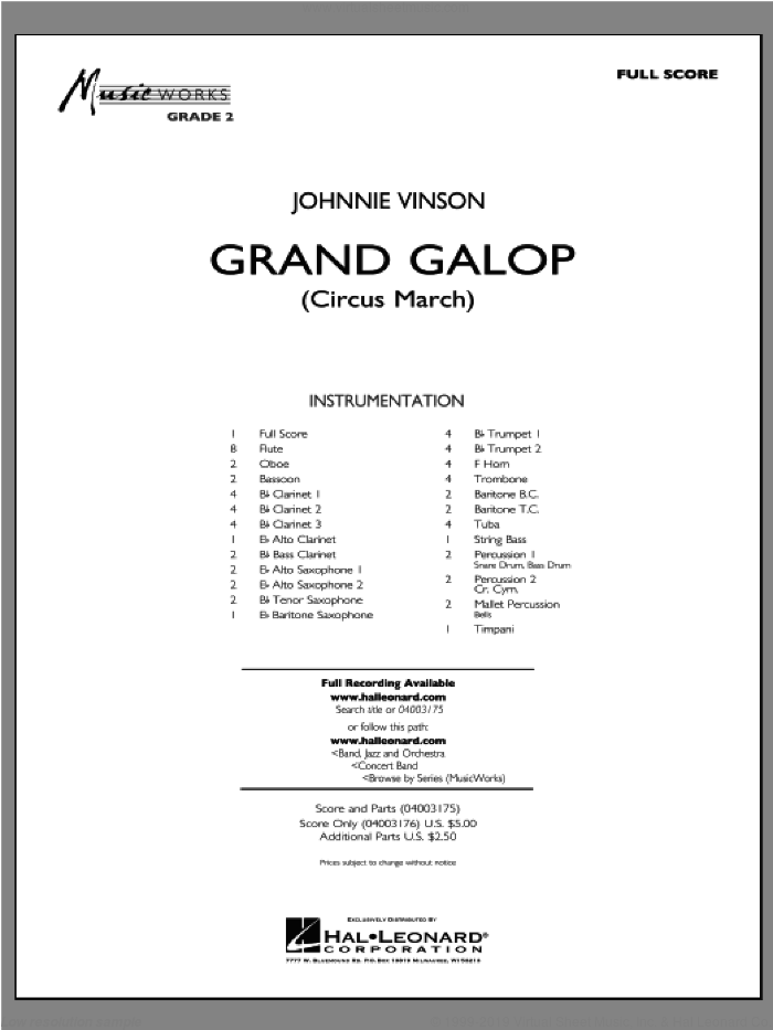 Grand Galop (Circus March) (COMPLETE) sheet music for concert band by Johnnie Vinson, intermediate