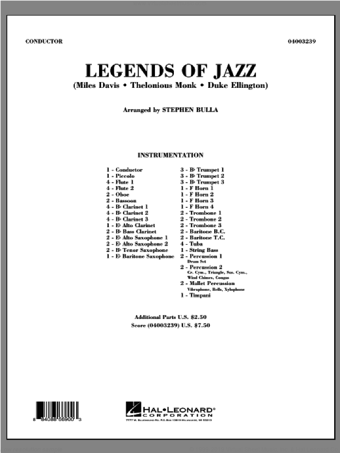 Legends Of Jazz (COMPLETE) sheet music for concert band by Stephen Bulla, intermediate skill level