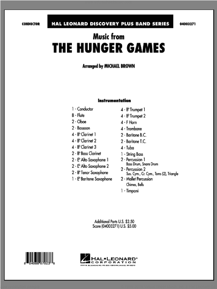 Music from 'The Hunger Games' (COMPLETE) sheet music for concert band by James Newton Howard and Michael Brown, intermediate skill level