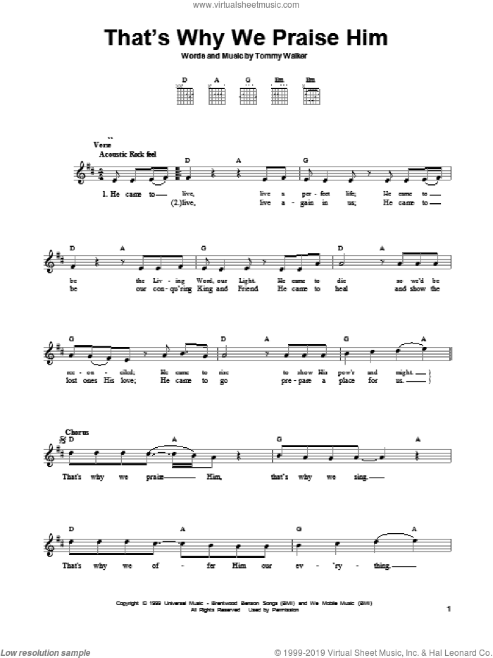 That's Why We Praise Him sheet music for guitar solo (chords) by Tommy Walker, easy guitar (chords). Score Image Preview.