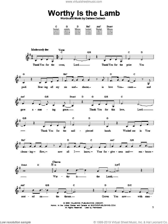Worthy Is The Lamb sheet music for guitar solo (chords) by Darlene Zschech, easy guitar (chords)