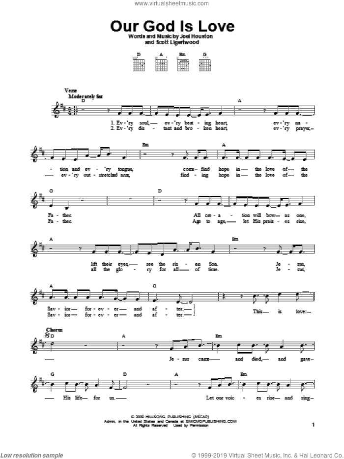 Our God Is Love sheet music for guitar solo (chords) by Joel Houston and Scott Ligertwood, easy guitar (chords)