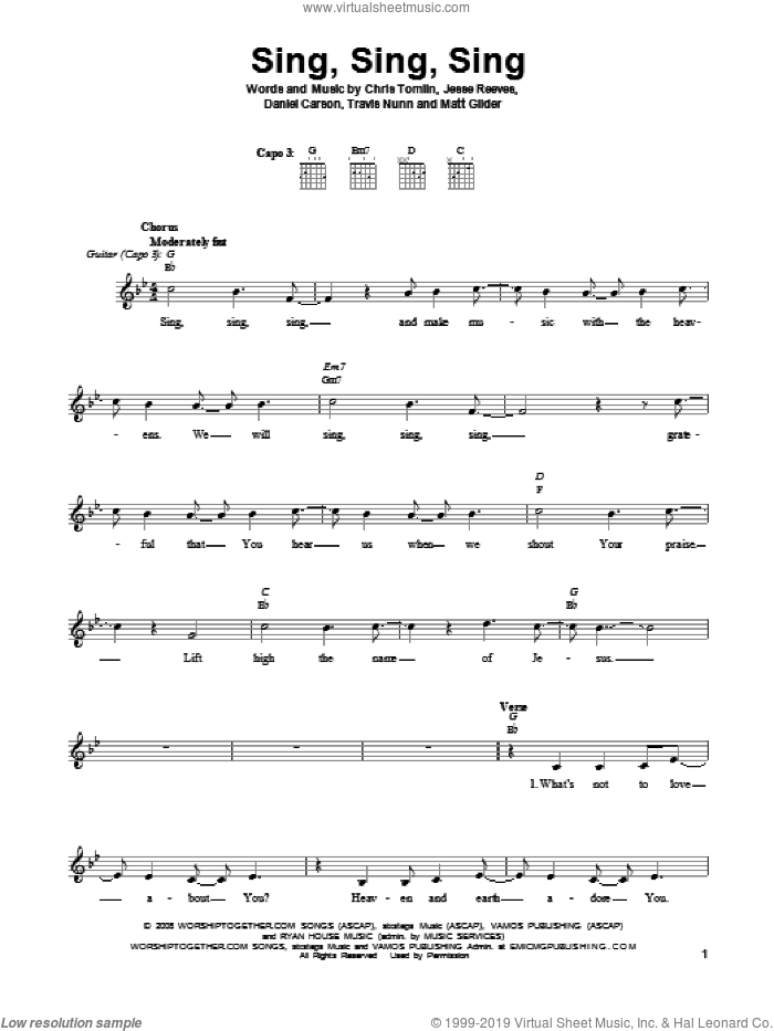 Sing Sing Sing sheet music for guitar solo (chords) by Chris Tomlin, Daniel Carson, Jesse Reeves, Matt Gilder and Travis Nunn, easy guitar (chords)