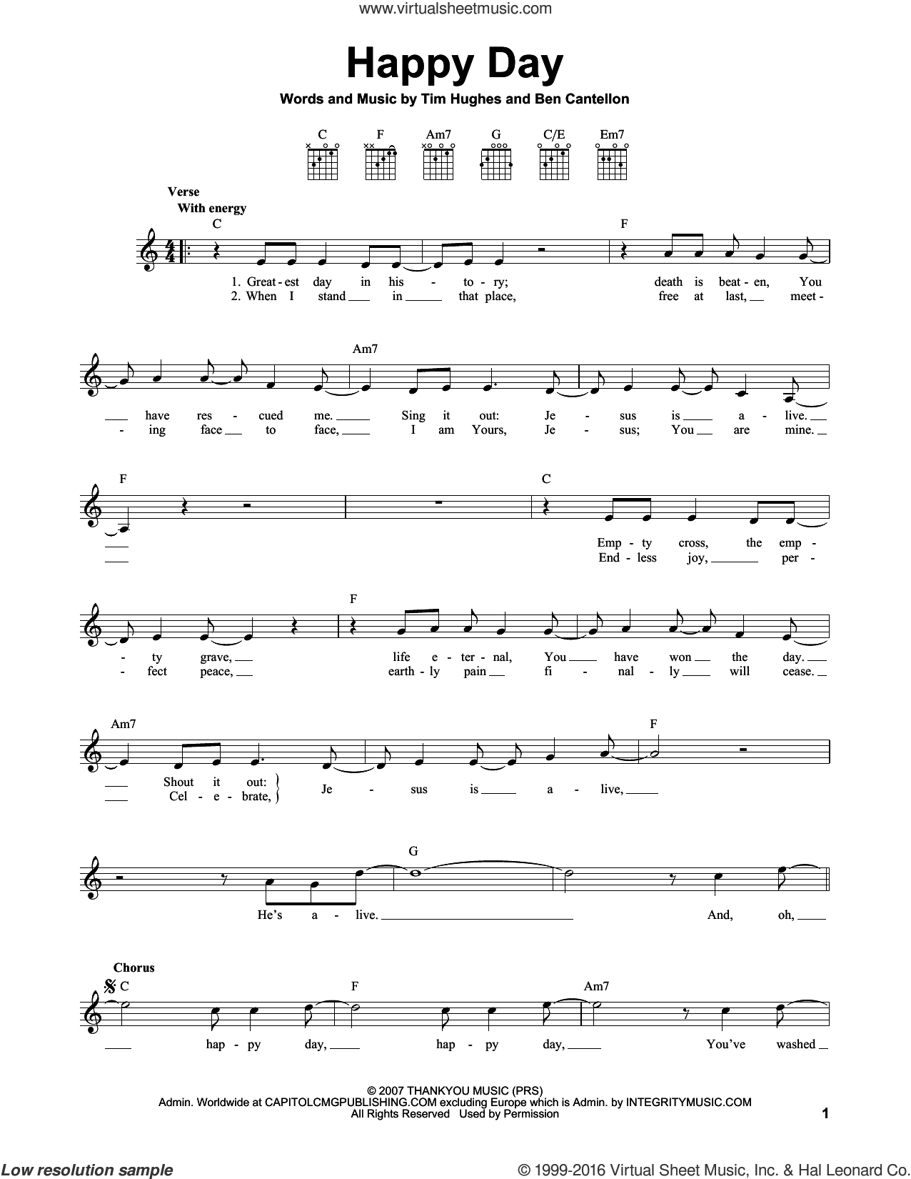 Happy Day sheet music for guitar solo (chords) by Tim Hughes and Ben Cantellon, easy guitar (chords)