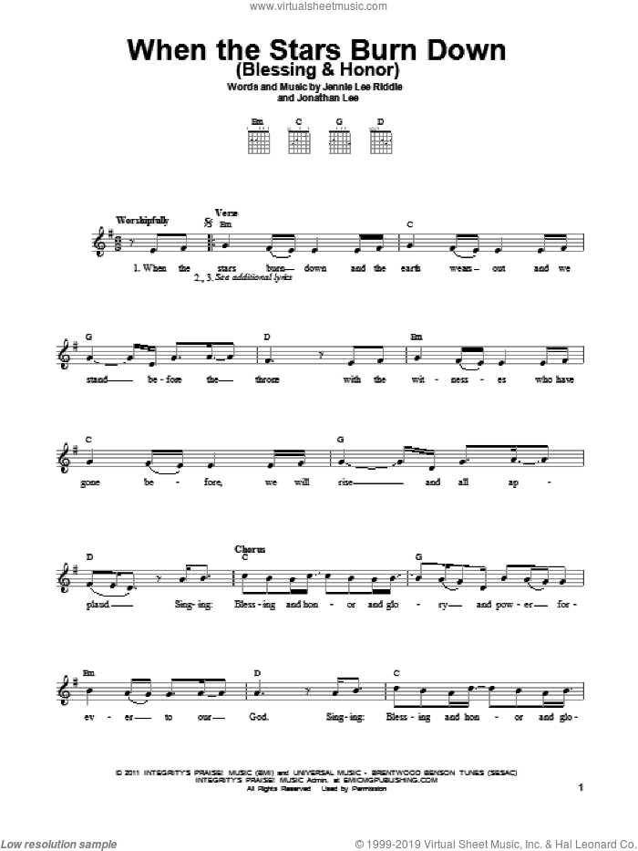 When The Stars Burn Down (Blessing and Honor) sheet music for guitar solo (chords) by Jennie Lee Riddle and Jonathan Lee, easy guitar (chords). Score Image Preview.