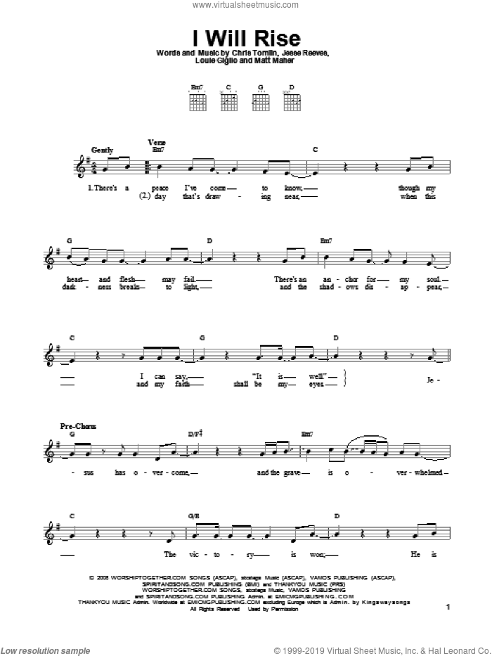 I Will Rise sheet music for guitar solo (chords) by Chris Tomlin, Jesse Reeves, Louis Giglio and Matt Maher, easy guitar (chords)