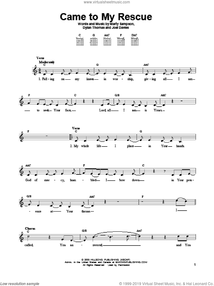 Came To My Rescue sheet music for guitar solo (chords) by Dylan Thomas, Joel Davies and Marty Sampson, easy guitar (chords)