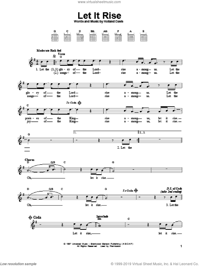 Let It Rise sheet music for guitar solo (chords) by Holland Davis, easy guitar (chords)