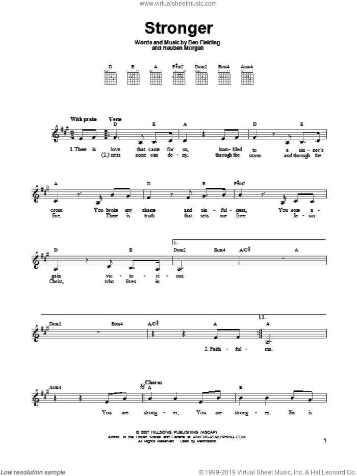 Stronger sheet music for guitar solo (chords) by Ben Fielding and Reuben Morgan. Score Image Preview.