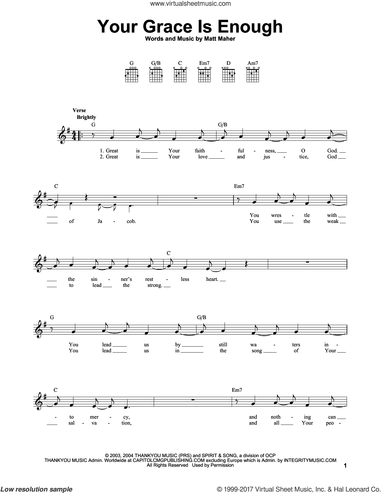 Your Grace Is Enough sheet music for guitar solo (chords) by Chris Tomlin and Matt Maher, easy guitar (chords)