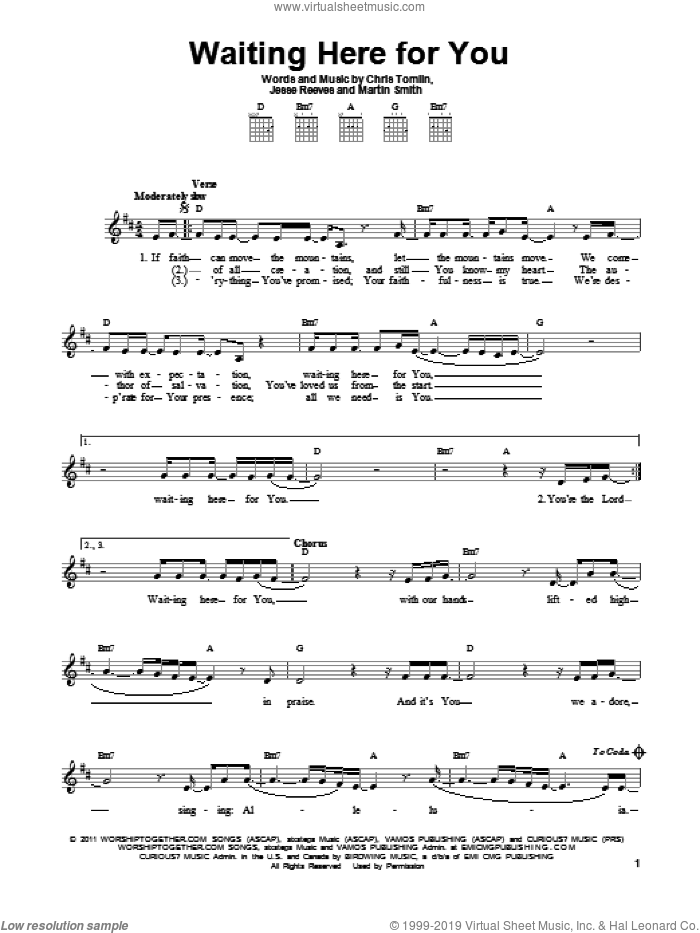 Waiting Here For You sheet music for guitar solo (chords) by Passion, Chris Tomlin, Jesse Reeves and Martin Smith, easy guitar (chords)