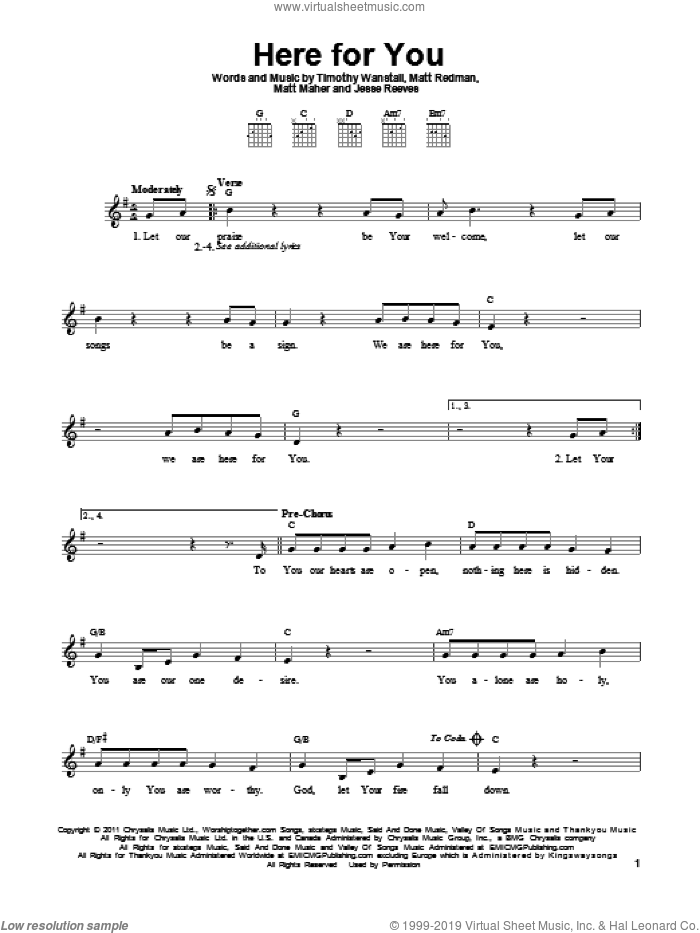 Here For You sheet music for guitar solo (chords) by Passion, Jesse Reeves, Matt Maher, Matt Redman and Tim Wanstall, easy guitar (chords). Score Image Preview.