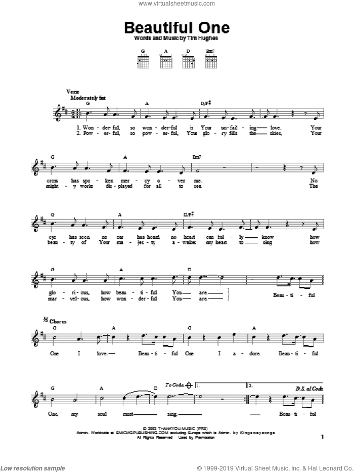 Beautiful One sheet music for guitar solo (chords) by Jeremy Camp and Tim Hughes, easy guitar (chords)