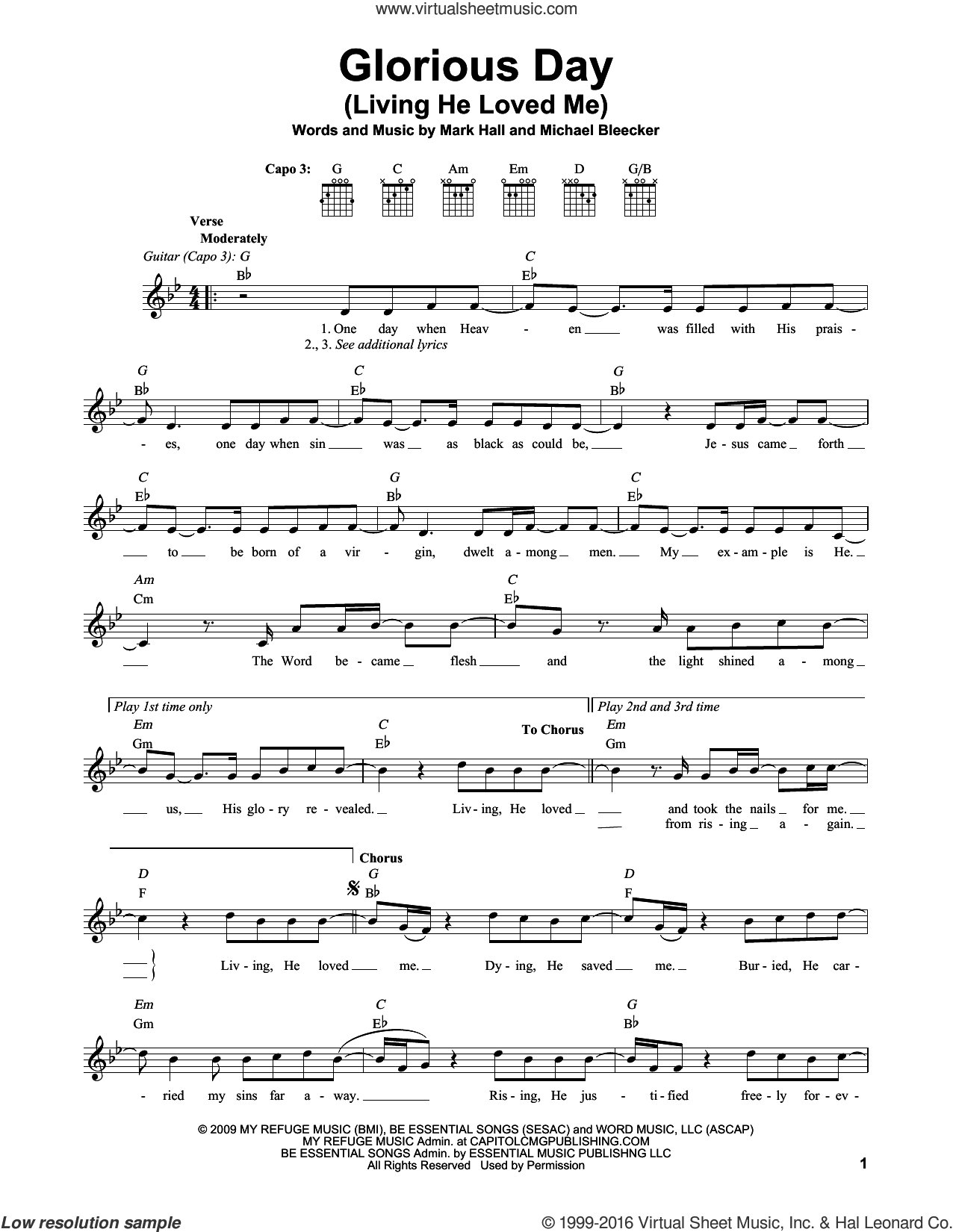Glorious Day (Living He Loved Me) sheet music for guitar solo (chords) by Casting Crowns, Mark Hall and Michael Bleaker, easy guitar (chords)
