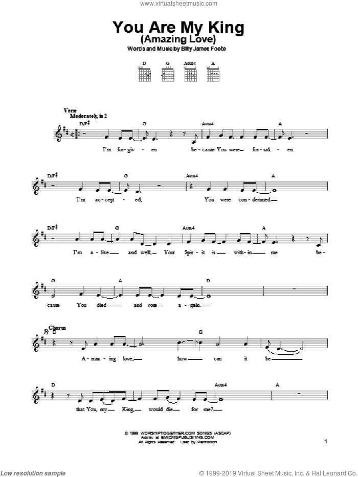 You Are My King (Amazing Love) sheet music for guitar solo (chords) by Passion, Billy Foote and Newsboys, easy guitar (chords)