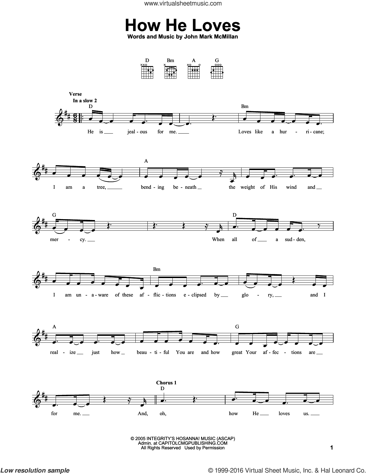 How He Loves sheet music for guitar solo (chords) by David Crowder Band and John Mark McMillan. Score Image Preview.