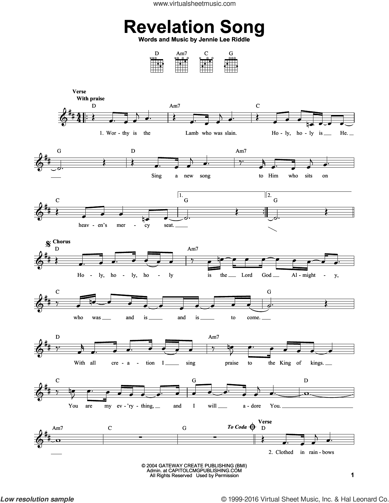 Revelation Song sheet music for guitar solo (chords) by Jennie Lee Riddle, easy guitar (chords)