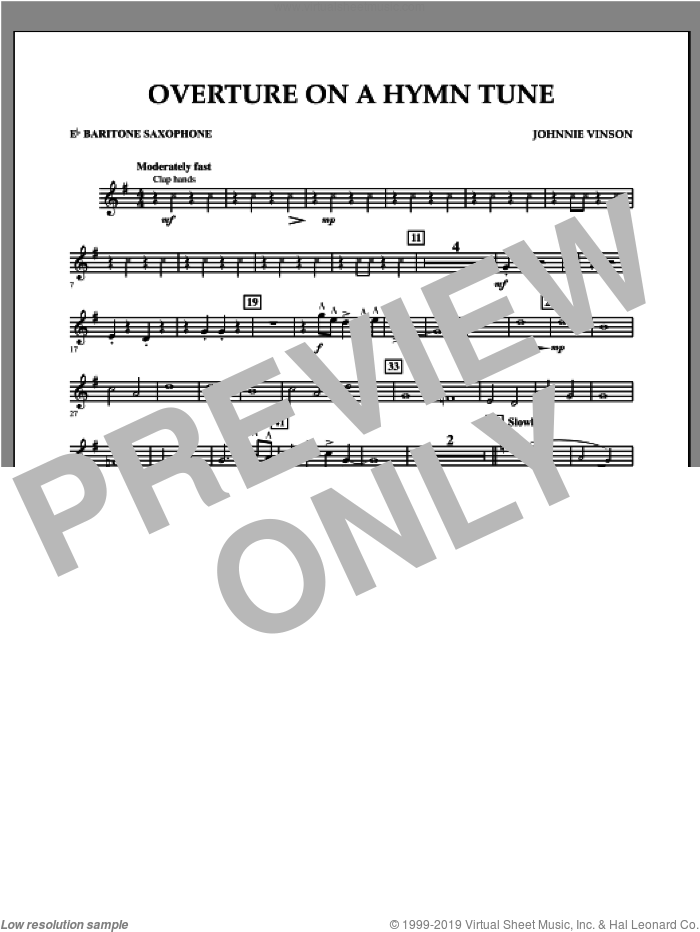 Overture on a Hymn Tune sheet music for concert band (Eb baritone saxophone) by Johnnie Vinson