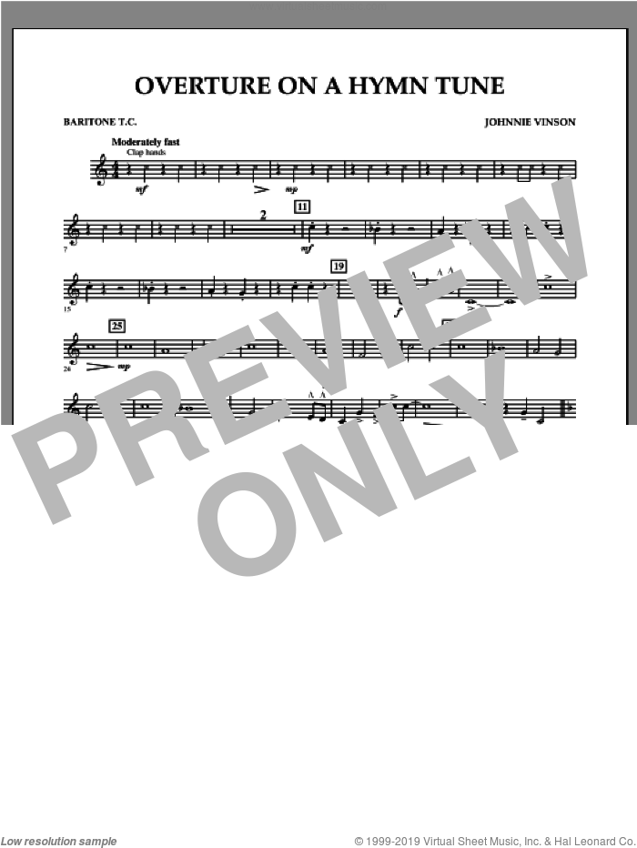 Overture on a Hymn Tune sheet music for concert band (baritone t.c.) by Johnnie Vinson