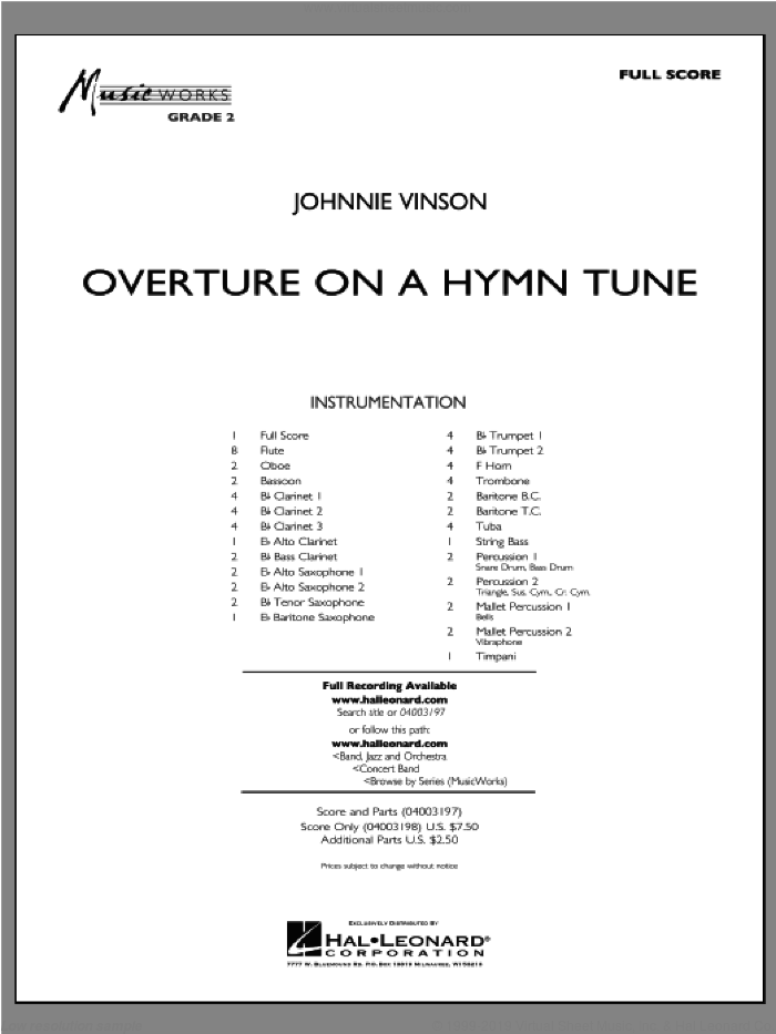 Overture On A Hymn Tune (COMPLETE) sheet music for concert band by Johnnie Vinson, intermediate. Score Image Preview.