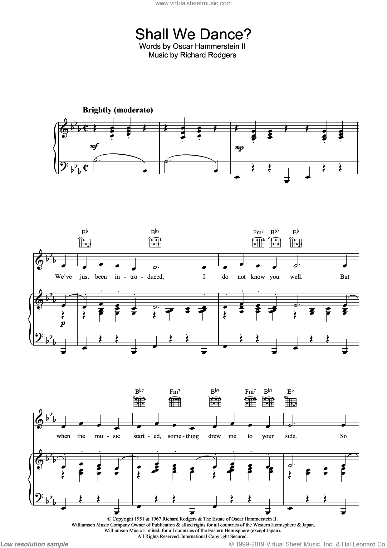 Shall We Dance? (from The King And I) sheet music for voice, piano or guitar by Rodgers & Hammerstein, The King And I (Musical), Oscar Hammerstein, Oscar II Hammerstein and Richard Rodgers, intermediate skill level